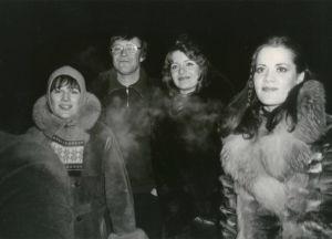 Meri Louhos ja saattajat Moskovan rautatieasemalla joulukuussa 1978.