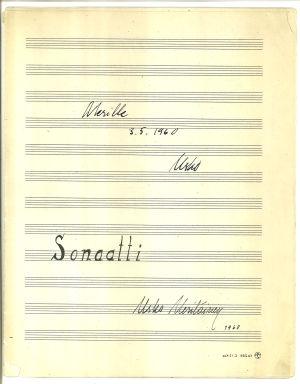 Usko Meriläisen Sonaatti pianolle 1960, nuotin kansi.