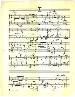 Usko Meriläisen Sonaatti pianolle 1960, nuotin ensimmäinen sivu.