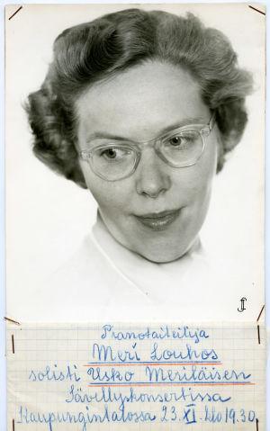 Meri Louhoksen konserttijuliste 1950-luvulla.