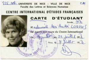 Meri Louhoksen opiskelijakortti Nizzan kesäyliopistossa 1972.