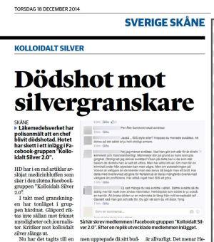Helsingborgs Dagblad rapporterar om dödshotet mot Per-Åke Sandvold i december 2014.