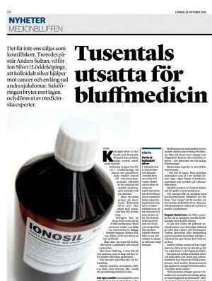 Helsingborgs Dagblad publicerade undersökande reportage om kolloidalt silver år 2014.