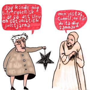 Två personen snackar om en upp och ner vänd satanistisk julstjärna