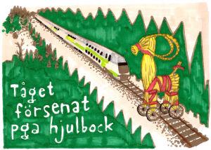 Hjulbock som försenar tåget genom att stå på spåret