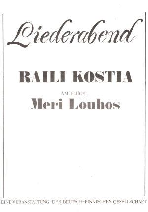 Raili Kostian ja Meri Louhoksen Euroopan-kiertueen käsiohjelman kansi.