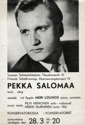 Pekka Salomaan konsertti-ilmoitus.