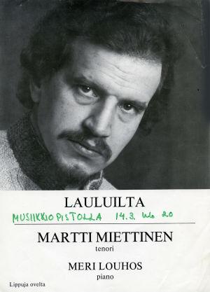 Tenori Martti Miettisen konsertti-ilmoitus.