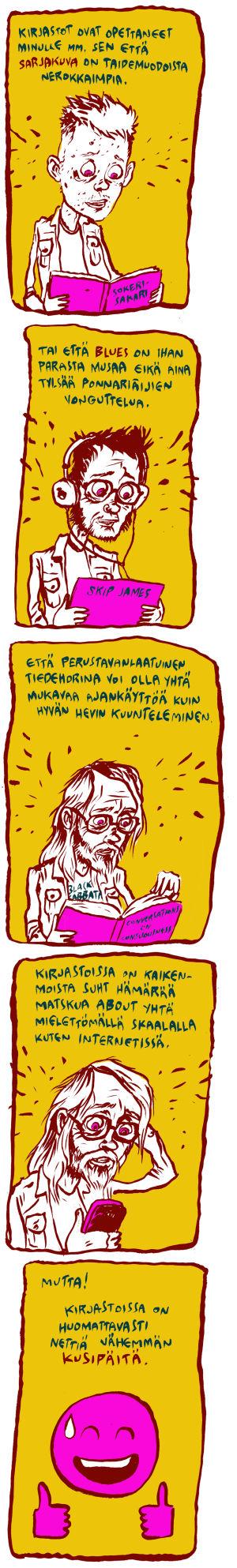 Ville Pirisen sarjakuva kirjastosta.