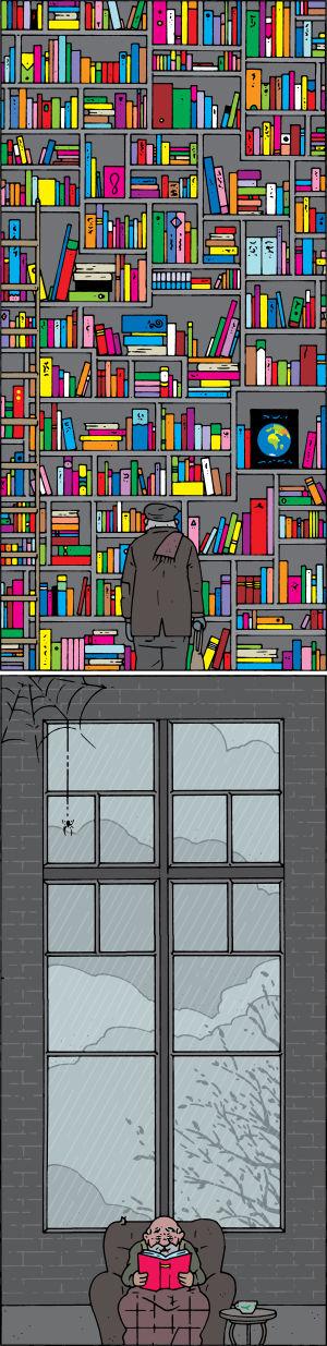 Tommi Musturin sarjakuva kirjastosta.
