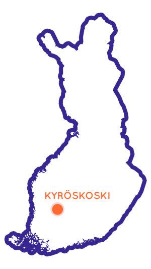 Suomen kartta, jossa Kyröskoski merkittynä.