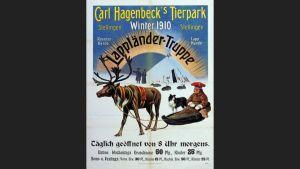 Carl Hagenbecks affisch för utställning av finska samer i Hamburg 1910.