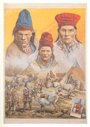 Affisch som illustrerar en utställning med samer arrangerad av Carl Hagenbeck i Hamburg-St Pauli från 1893/94.