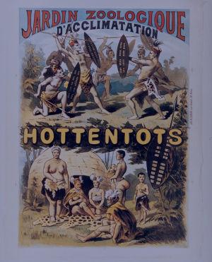 Affisch från Jardin d'acclimatation utanför Paris som gör reklam för en människoutställning ca 1877.