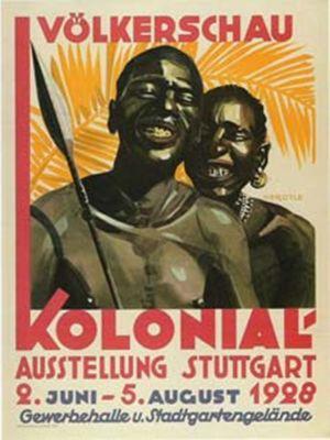 Affisch om människoutställning i Stuttgart år 1928.