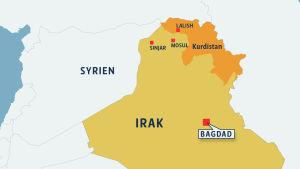 Karta över norra Irak och de kurdiska områdena