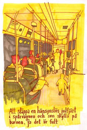 Illustration av inne i spårvagn