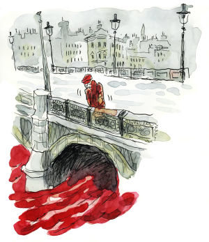 Akvarellimaalaus. Mies seisoo sillalla.