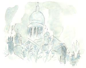 Akvarellimaalaus. Kirkon kupolit sumussa.