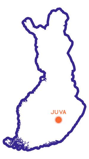 Suomen kartta, jossa Juva merkittynä.