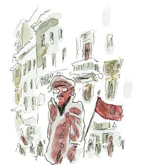 Akvarellimaalaus. Mies seisoo kylmissään kadulla ja tuijottaa ilmeettömänä.
