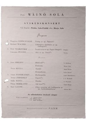 Wäinö Solan jäähyväiskonsertin ruotsinkielinen käsiohjelma.