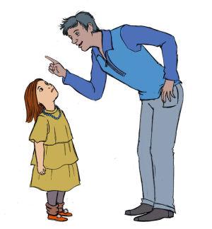 Isä opettaa lastaan sormi ojossa.