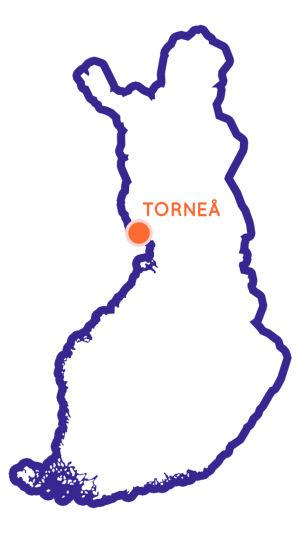 Karta över Finland med Torneå utmärkt som en punkt.