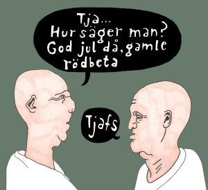 skalliga män som talar, teckning