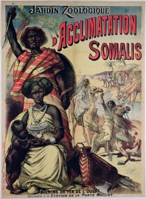 En affisch som gör reklam för somalier på utställning på Jardin Zoologique d'Acclimatation i Paris år 1890.