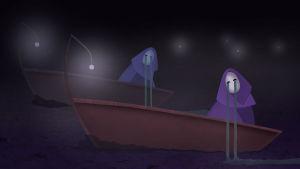 Kaksi itkevää hahmoa veneissä