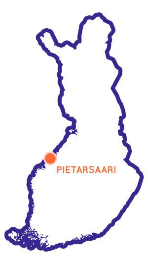 Suomen kartta, vasemmassa laidassa oranssi piste, jonka yhteydessä nimi Pietarsaari.