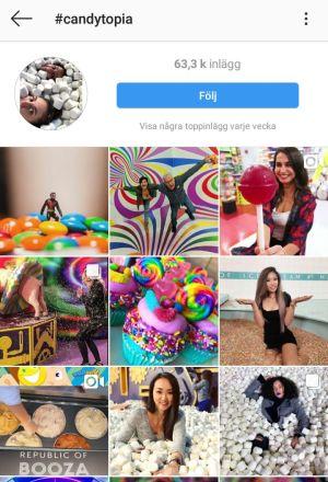 Skärmdump från Instagram med #candytopia.