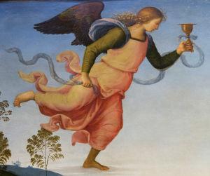 Perugino, yksityiskohta Enkelistä teoksessa: Kristus Oliivi puutarhassa 1400-luvun loppu. Galleria Uffizi, Firenze, Italia.