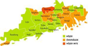 En karta över Nyland där man kan se vilka kommuner som höjt lönerna för barnträdgårdslärare och vilka som inte gjort det.