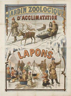 Reklamaffisch för samer på utställning på Jardin zoologique d'acclimatation utanför Paris år 1889.