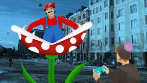 Kuvituskuva Kulttuuricocktailin artikkeliin videopeleistä. Kuvassa pelaaja ohjaa pelihahmoa.
