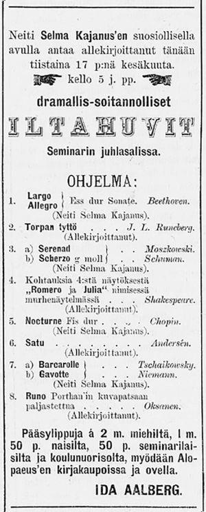 Ilmoitus Laatokka-lehdessä 17.06.1884.