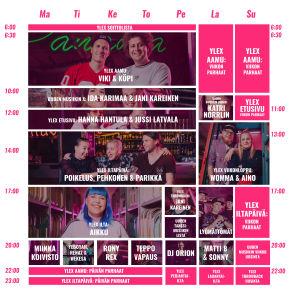 YleX:n ohjelmakartta