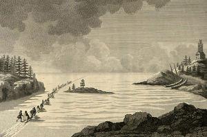 Giuseppe Acerbin piirros Pohjanlahden ylittämisestä 1799.