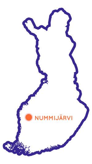 Suomen kartta, jossa merkittynä Nummijärvi Kauhajoella.