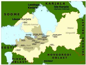 En karta över Ingermanland vid tiden för belägringen av Leningrad.