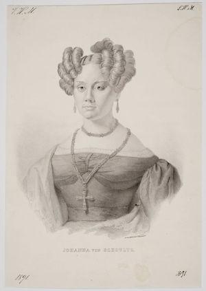 Tuntemattoman tekijän litografia Johanna von Schoultzista 1830-luvulta.