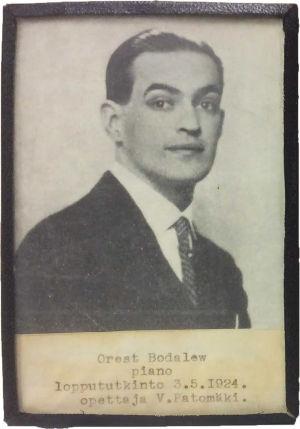 Viipurin musiikkiopiston loppututkinnon suorittaja pianisti Orest Bodalew 3.5.1922.