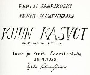 Erkki Salmenhaaran Kuun kasvot -laulusarjan kansilehti.