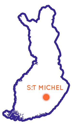 Karta över Finland med St. Michel utmärkt som en punkt på kartan.