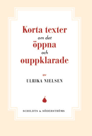 """Pärmen till Ulrikas Nielsen bok """"Korta texter om det öppna och ouppklarade""""."""