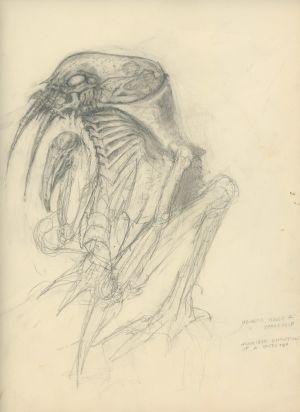Alienin luonnos, tekijänä käsikirjoittaja Dan O´Bannon.