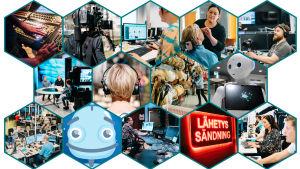 Yleläisiä ja eri työtehtäviä Ylessä, kuten toimittajia, kuvaajia ja Voitto-robotti.