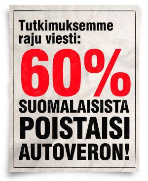 Lööppi jossa väitetään että 60% suomalaisista poistaisi autoveron
